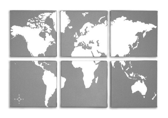 World Map 6 Panel Canvas Giclee