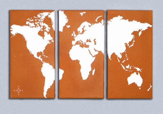 World Map Triptych Canvas Giclee - Retro Orange and White