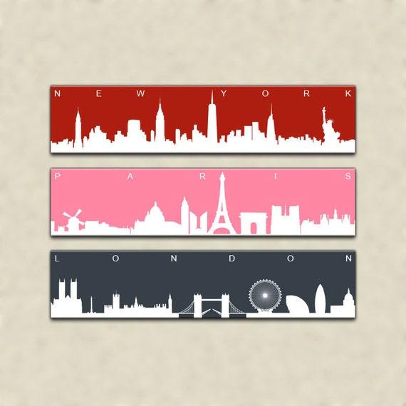 Items Similar To New York Paris London Triptych Canvas