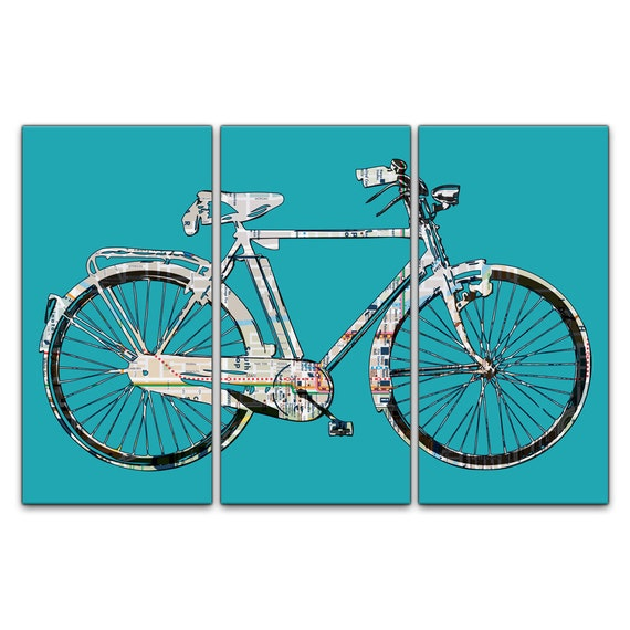 Chicago Street Map Bicycle Triptych Canvas Giclee - Teal