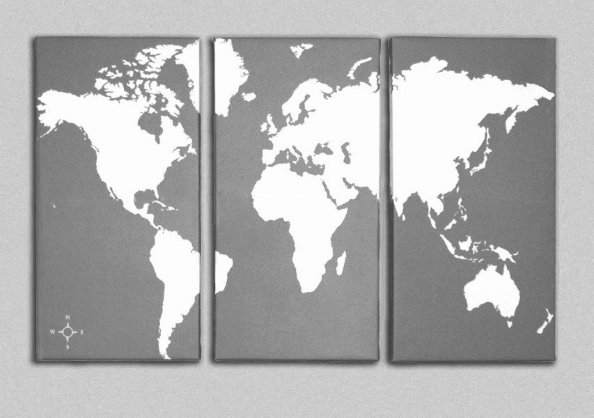 World Map Canvas Giclee Triptych Grey And White - World map canvas