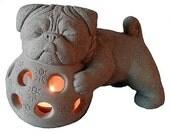 Zen PUG Foo Dog Garden Tea Lantern by Tyber Katz