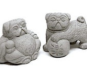 3 Zen Mini Lucky PUG Dog Buddhas and Foos Bonsai Statues
