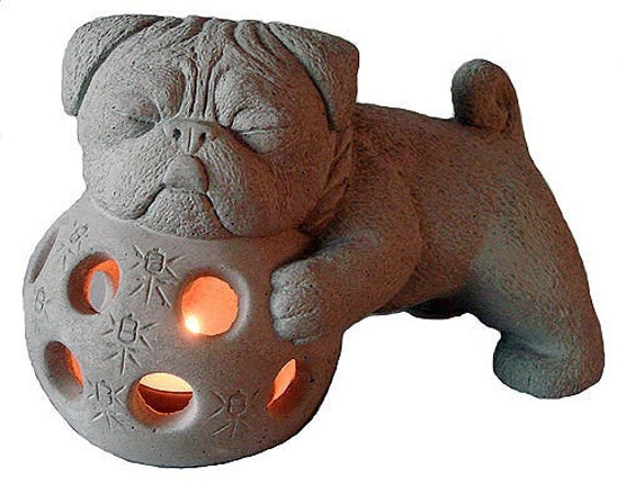 Zen PUG Foo Dog Garden Tea Lantern by Tyber Katz