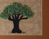 """Tree Wall Art - Knit, Beaded Fiber Collage, Matted to Frame - """"Golden Fruit Tree"""" - Orange, Tan, Gold, Mint Green"""