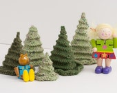 Toy or Christmas Tree Knitting Pattern PDF - 3D Evergreen Trees - Winter, Holiday Decorations or Waldorf Play