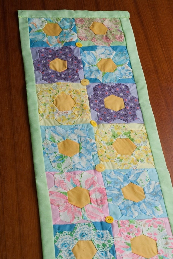 Table Runner, Wall Hanging of Vintage Hand Stitched Quilt Blocks and Vintage Buttons - SALE - Spring Pastels, Light Green Border