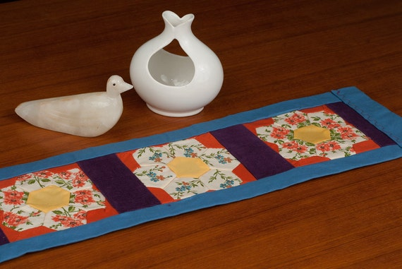 Table Runner, Wall Hanging of Upcycled Vintage Hand-Stitched Quilt Blocks - Dark Orange, Purple, Blue Border