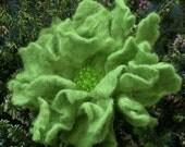 Wool Felted Flower Big Green Fairy
