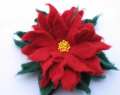 Wool Felted Flower Poinsettia Christmas Red Pin (or Bobby  Pin)