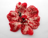 Wool Felted Flower Pin Fire Red and White OOAK Art