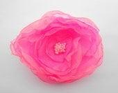 Organza Flower Pin Neon Hot Pink Big