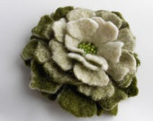 Wool Felted Flower Pin White Light green and Moss Green