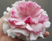 Wool Felted Flower Pin Apple Blossom Pink White Spring Fashion