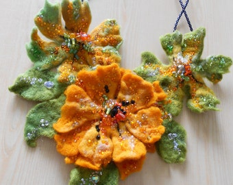 Made to Order Felted Flower Necklace Green Orange and Sparkly