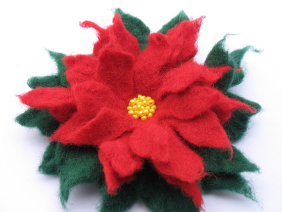 Wool Felted Flower Poinsettia Christmas Pin