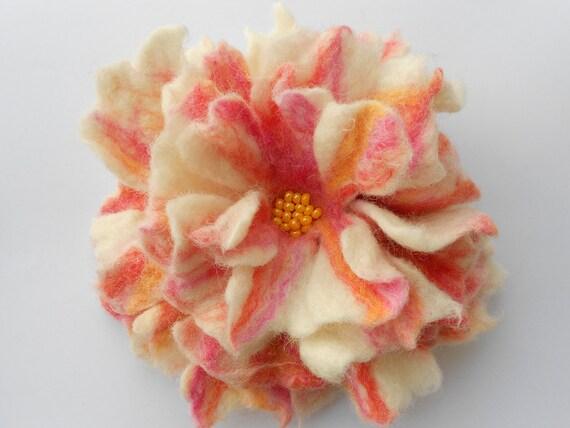 Wool Felted Flower Pin White Orange Yellow Pink Green
