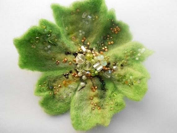 Wool Felted Flower Pin Lime Green Golden Beads OOAK Wearable Art