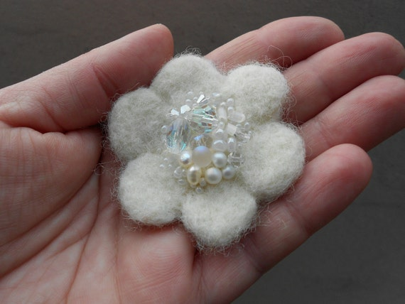 White Snow Pearls Beaded Wool Felted Flower Pin Felt Accessory