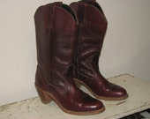 Vintage DEXTER-USA Burgundy Leather Cowboy Cowgirl Boots N 9 A