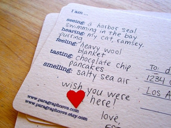 Five Senses Upcycled Postcards