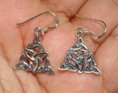 CELTIC Irish Quad TRINITY Sterling Silver EARRINGS Dangle