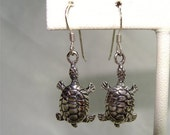 Cute TURTLES Sterling Silver EARRINGS on French Wire Dangle