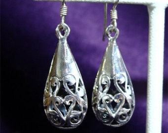 Filigree TEARDROP Sterling Silver EARRINGS Dangle
