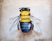 Bumble Bee -  Art Print of my Original Watercolor Painting  -    Bumble bee home decor - nursery art