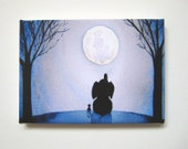 Under the Moonlight - Petite Canvas Print - elephant and mouse under moon at night