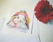 Bunny's Brand New Bonnet Note Cards - Set of 5 Cards with Envelopes