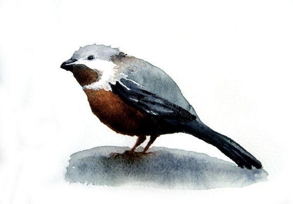 Chickadee - 6 and one half x 9 inch Original Watercolor Painting