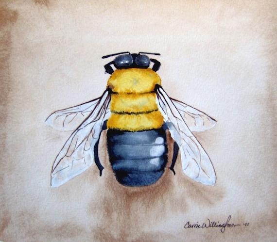 Items similar to bumble bee art print of my original for Bumble bee mural