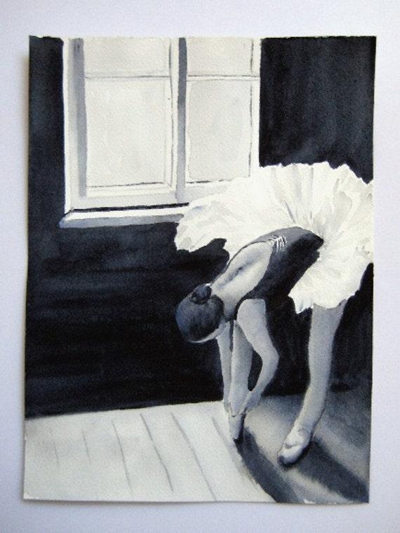 Ballerina - Original 9x12 inch Watercolor Painting