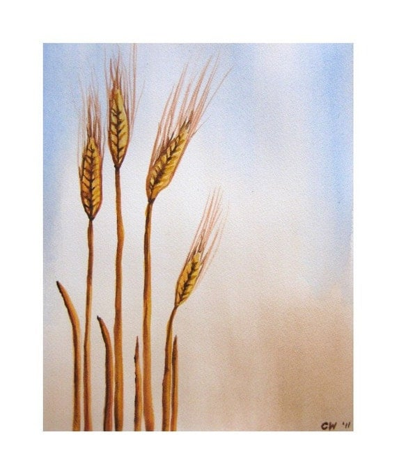 Original Watercolor Painting - Wheat - 9x12 inch Watercolor Painting -farm nature harvest  home decor
