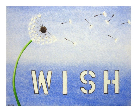 Wish - Signed Art Print -  dandelion wishes, blue nursery art, kids, typography, text, home decor