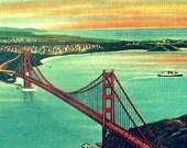 GOLDEN GATE BRIDGE art  California art bridge photograph vintage San Francisco print 1930s Old California decor 8x10 red aqua orange