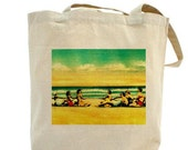 Beach Wedding - Bridesmaid Gifts - Beach Bag  - I Like Big Beaches And I Cannot Lie / Tug O War / 100% Cotton Canvas Beach Bag