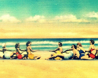 Mid Century Beach Art, Classic Coastal Artwork, Mid Century Girls Beach Art, Coastal Art, Beach House Wall Art, Beach House Art, Aqua Yellow