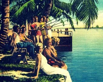 Beach decor art, Mom Gift, Mom Birthday gift, Summer art, Coastal art deco beach decor, Coastal decor summer beach art,vintage art 1930s art