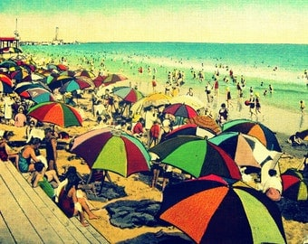 beach umbrellas print COLOR BEACH 8x10 nautical art decor 1940s red aqua orange coastal mid century modern  lover gift Nostalgia