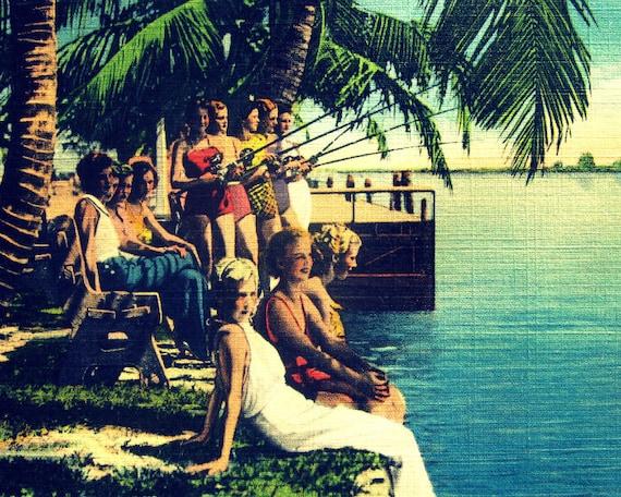 Sale photography SUMMERTIME Art Deco women 8x10 print beach art decor color 1930s tropical Florida print beach lover gift Nostalgia