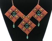 Copper with Emerald Glass Beads Statement Necklace, Bib Necklace, One of a Kind, Extremely Elegant, Unique