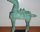 Vintage Jade Green Horse Statue, Jonathan Adler style