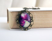 Woodland Photo Jewelry, Mystical Path in Forest Park Vintage Style Purple Photo Pendant Long Necklace