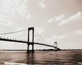 Flying Over the Whitestone Bridge Photography Print, NYC Photo, New York City Print, Queens NY Wall Art