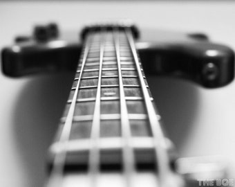 The Bass Guitar Photography Print, Music, Rock and Roll, Heavy Metal, Musical Instruments, Metallic Paper