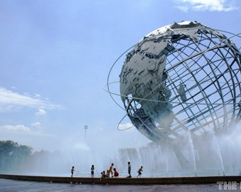 Kids Cooling Off at the Unisphere Photography Print, New York City Photo, NYC Print, Queens Photography