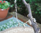 Wire-Wrapped Silver Leave Charm Bracelet