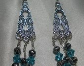 Handcrafted turquoise and silver chandelier pierced earrings